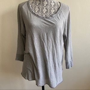 James Perse Striped Long Sleeve Casual Top